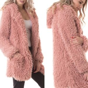 Jackets & Blazers - Vegan Fur Hoodie Jacket